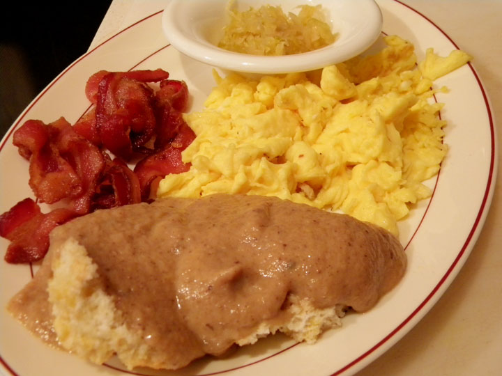 Biscuits and Gravy, Bacon and Scrambled Eggs