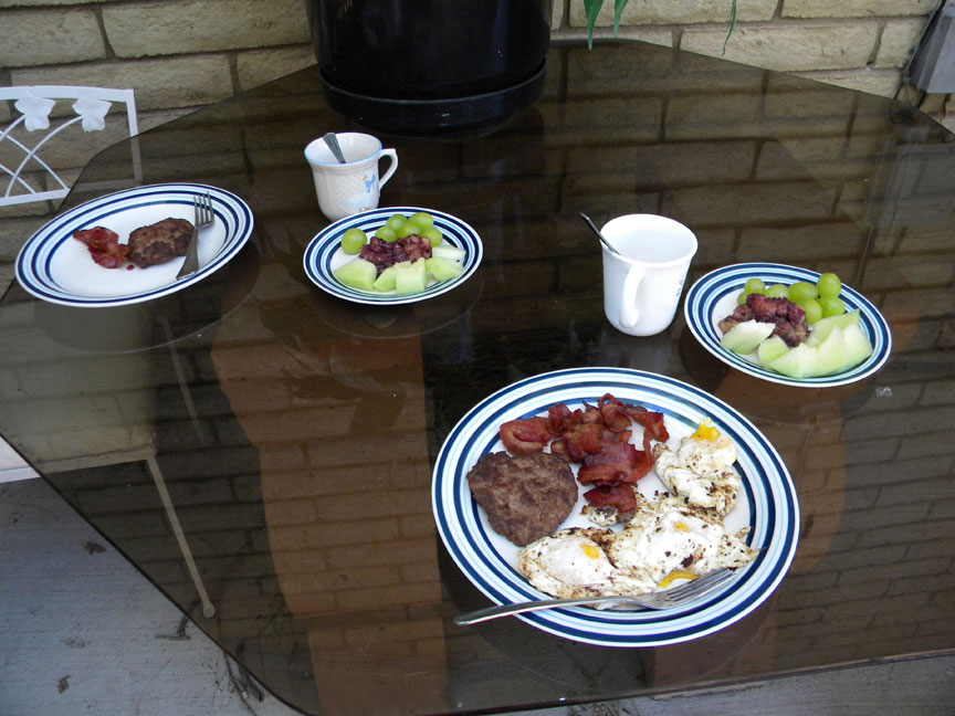 Breakfast on the private patio