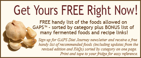 Handy GAPS Recommended Foods List
