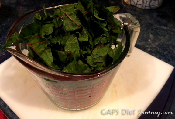 Four Cups Swiss Chard Leaves without stems