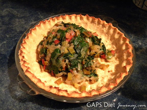Cooked Swiss Chard in the Pie Crust