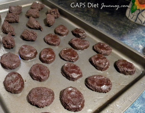 Chocolate Coconut Flour Cookies Formed and Pressed into shape