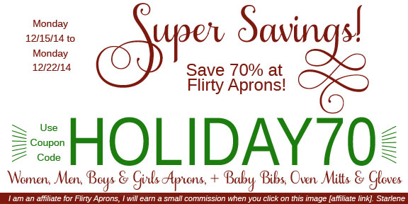 Flirty Aprons 70% off Sale Use Coupon Code HOLIDAY70