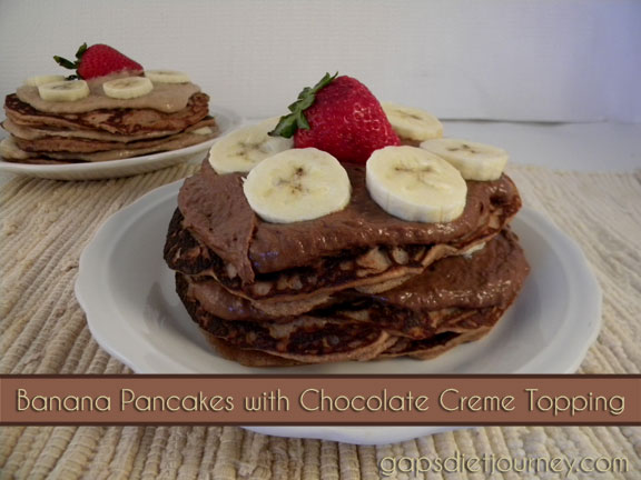 Banana Pancakes with Chocolate Creme Topping